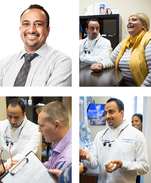 Photo collage of Dr. Meena Barsoum, an Arlington Heights dentist, attending to his patients.